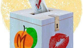 Ballot Box Peach Illustration by Greg Groesch/The Washington Times