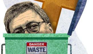 William Barr in the Dumpster Illustration by Greg Groesch/The Washington Times