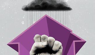 Illustration on domestic violence by Linas Garsys/The Washington Times