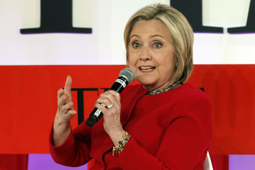 In this April 23, 2019, photo, Hillary Clinton speaks during the TIME 100 Summit, in New York. Mrs. Clinton is popping up in presidential politics again, and some Democrats are wary even as they praise her role as a senior party leader. (AP Photo/Richard Drew, File)