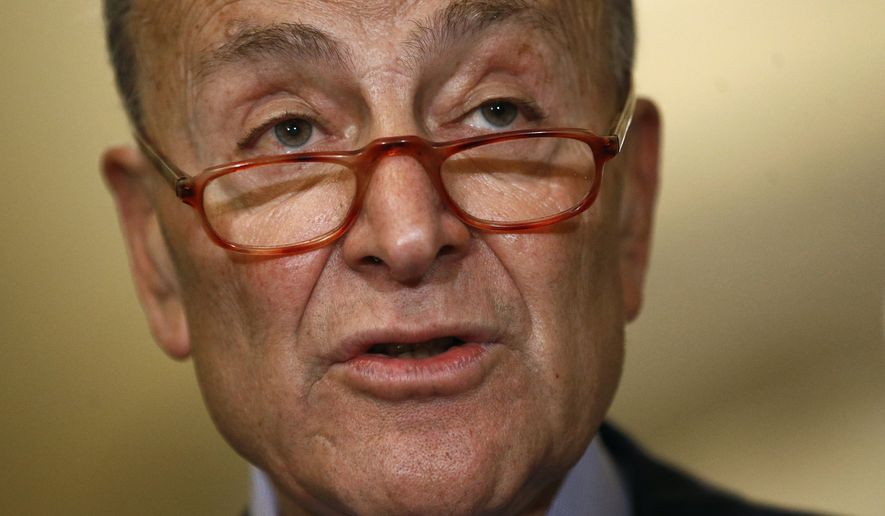Senate Minority Leader Sen. Chuck Schumer of N.Y., speaks to members of the media following a Senate policy luncheon, Tuesday, Oct. 22, 2019, on Capitol Hill in Washington. (AP Photo/Patrick Semansky)