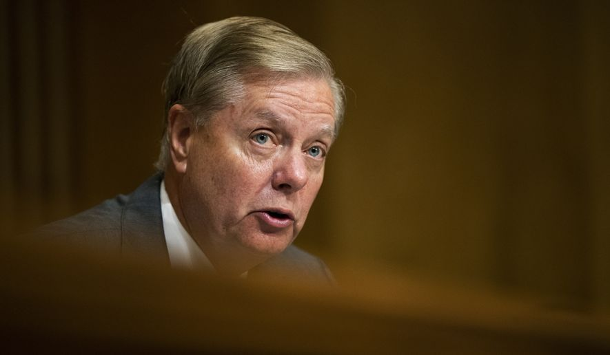 Senate Foreign Relations Committee member Sen. Lindsey Graham, R-S.C., questions witness James Jeffrey special representative for Syria Engagement and special envoy to the Global Coalition to Defeat Islamic State during a committee hearing on assessing the impact of Turkey's offensive in northeast Syria, on Capitol Hill in Washington, Tuesday, Oct. 22, 2019. (AP Photo/Manuel Balce Ceneta)