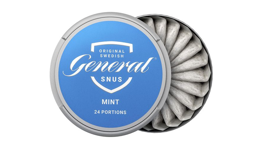"This image provided by Swedish Match in 2019 shows the company's ""General Snus"" pouched smokeless tobacco product. On Tuesday, Oct 22, 2019, the U.S. Food and Drug Administration endorsed the tobacco pouches as less harmful than cigarettes, a first-ever decision that could open the door to more lower-risk options for U.S. smokers. (Swedish Match via AP)"