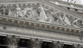 FILE - This Aug. 23, 2019, file photo shows the New York Stock Exchange in New York. The U.S. stock market opens at 9:30 a.m. EDT on Tuesday, Oct. 22. (AP Photo/Frank Franklin II, File)