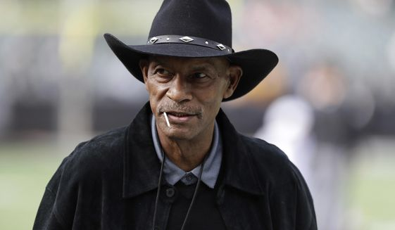 File-This Oct. 19, 2017, file photo shows Pro football hall of famer Willie Brown before an NFL football game between the Oakland Raiders and the Kansas City Chiefs in Oakland, Calif. Brown, who provided the iconic play of the Oakland Raiders' first Super Bowl title, died on Tuesday, Oct. 22, 2019. He was 78. The Raiders and Pro Football Hall of Fame announced Brown's death but did not reveal a cause. He had been dealing with cancer. (AP Photo/Marcio Jose Sanchez, File)