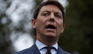 White House deputy press secretary Hogan Gidley speaks with reporters outside the White House, Tuesday, Oct. 22, 2019, in Washington. Mr. Gidley is leaving the White House to join the president's reelection campaign. (AP Photo/Evan Vucci)  **FILE**