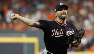 Washington Nationals starting pitcher Max Scherzer throws against the Houston Astros during the first inning of Game 1 of the baseball World Series Tuesday, Oct. 22, 2019, in Houston. (AP Photo/Matt Slocum) **FILE**