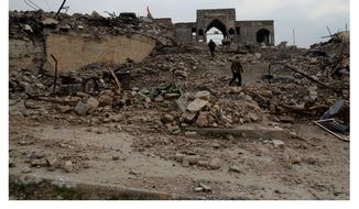 The destruction of the Tomb of Jonah in Mosul, Iraq, on Jan. 21, 2017, by Islamic State militants is an example of the global uptick in violence targeting houses of worship that drew condemnation from the U.S. Commission on Internation Religious Freedom. (ASSOCIATED PRESS)