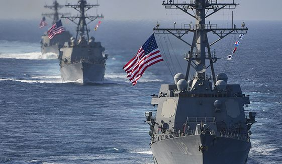 The Arleigh Burke-class guided-missile destroyers USS Preble (DDG 88), USS Halsey (DDG 97) and USS Sampson (DDG 102) are underway behind the aircraft carrier USS Theodore Roosevelt (CVN 71). Theodore Roosevelt and its carrier strike group are deployed to the U.S. 5th Fleet area of operations in support of maritime security operations to reassure allies and partners and preserve the freedom of navigation and the free flow of commerce in the region. (U.S. Navy photo by Mass Communication Specialist Seaman Michael A. Colemanberry/Released) 180324-N-NK192-1337 Join the conversation: http://www.navy.mil/viewGallery.asp http://www.facebook.com/USNavy http://www.twitter.com/USNavy http://navylive.dodlive.mil http://pinterest.com