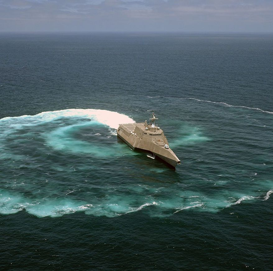 INDEPENDENCE CLASS LITTORAL COMBAT SHIP                                                                                                          The littoral combat ship USS Independence (LCS 2) demonstrates its maneuvering capabilities in the Pacific Ocean off the coast of San Diego. (U.S. Navy photo by Mass Communication Specialist 2nd Class Daniel M. Young/Released) 130718-N-NI474-218 Join the conversation http://www.navy.mil/viewGallery.asp http://www.facebook.com/USNavy http://www.twitter.com/USNavy http://navylive.dodlive.mil http://pinterest.com https://plus.google.com