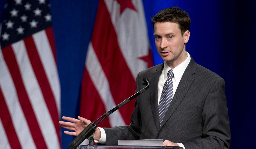 Ward Six Councilmember Charles Allen speaks during the District of Columbia Inauguration ceremony at the Convention Center in Washington, Friday, Jan. 2, 2015. (AP Photo/Carolyn Kaster) **FILE**