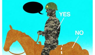 Illustration on military dabbling in politics by Alexander Hunter/The Washington Times