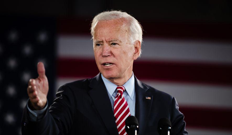 Democratic presidential candidate former Vice President Joe Biden speaks during a campaign event, Wednesday, Oct. 23, 2019, in Scranton, Pa. (AP Photo/Matt Rourke) ** FILE **