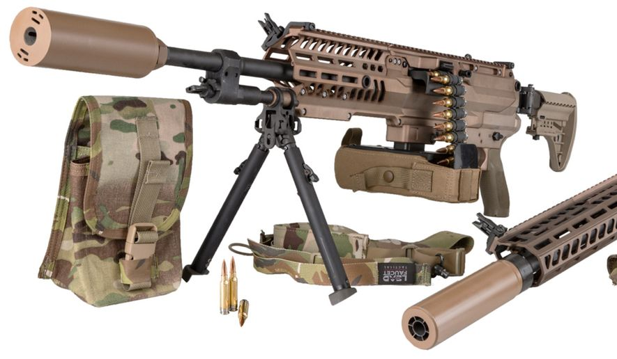 Sig Sauer responded to the U.S. Army's request for a battlefield upgrade for troops by supplying 6.8 mm hybrid ammunition, a lightweight machine gun, a rifle, and suppressors. The system is referred to as NGSW. (Image: Sig Sauer, press release, for the Next Generation Squad Weapons)