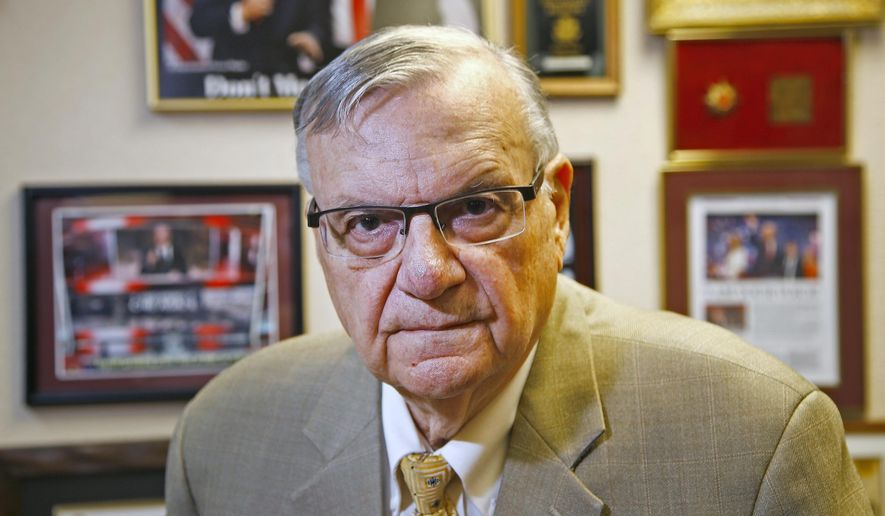 In this Aug. 26, 2019, file photo, former Arizona Maricopa County Sheriff Joe Arpaio poses for a portrait after talking about trying to get back the job he lost in 2016 as he announces his 2020 campaign for Maricopa County Sheriff in Fountain Hills, Ariz. (AP Photo/Ross D. Franklin, File)