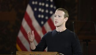 In this Oct. 17, 2019, file photo Facebook CEO Mark Zuckerberg speaks at Georgetown University in Washington. (AP Photo/Nick Wass, File)