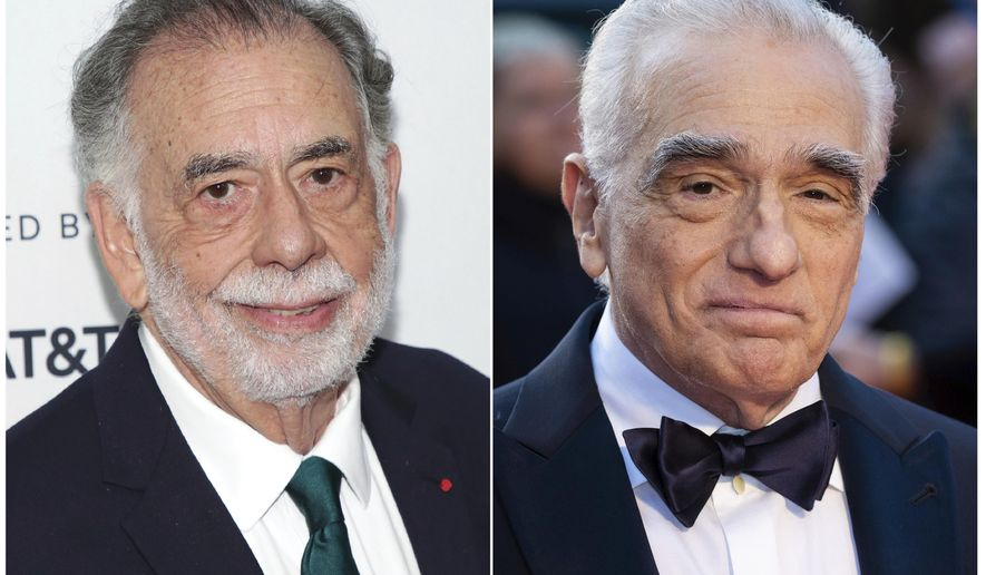 """This combination photo shows director Francis Ford Coppola at a screening of the 40th Anniversary of """"Apocalypse Now Final Cut"""" during the 2019 Tribeca Film Festival in New York, left, and director Martin Scorsese at the premiere of  """"The Irishman"""" during the London Film Festival on Oct. 13, 2019. Scorsese and Coppola have commented on the rise of the superhero film and its outsized place in our film culture. (AP Photo)"""