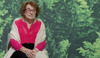 FILE-In this Jan. 1, 2018 file photo shows Holocaust survivor Hanni Levy at an extraordinary party convention in Hanover, Germany. Levy died at the age of 95 years. (Julian Stratenschulte/dpa via AP)