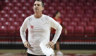 Maryland NCAA college basketball head coach Mark Turgeon looks on at practice during Media Day, Tuesday, Oct. 15, 2019, in College Park, Md. (AP Photo/Gail Burton)