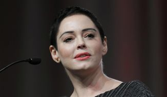 In this Oct. 27, 2017, file photo, actress Rose McGowan speaks at the inaugural Women's Convention in Detroit. (AP Photo/Paul Sancya, File)