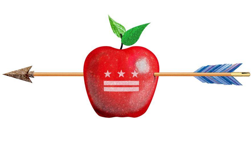 Elizabeth Warren Attack on DC Schools Illustration by Greg Groesch/The Washington Times