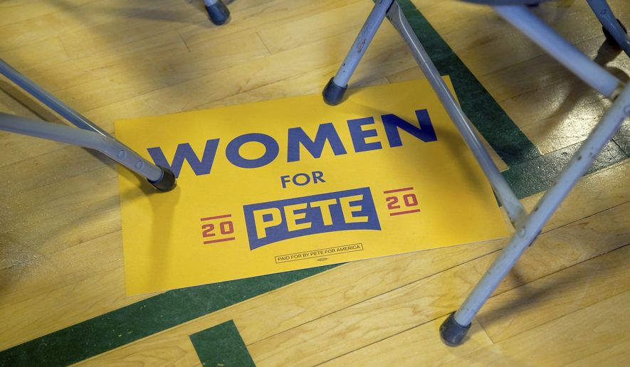 A sign for Democratic presidential candidate South Bend, Ind., Mayor Pete Buttigieg sits on a floor with folding chairs following an event, Thursday, Oct. 24, 2019, in Nashua, N.H. (AP Photo/Mary Schwalm)