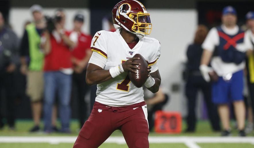 Washington Redskins quarterback Dwayne Haskins (7) during the second half of an NFL football game against the Minnesota Vikings, Thursday, Oct. 24, 2019, in Minneapolis. (AP Photo/Jim Mone)