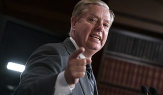 """Republican Sen. Lindsey Graham of South Carolina, one of President Donald Trump's chief GOP allies, says he will introduce a resolution condemning the Democratic-controlled House for pursuing a """"closed door, illegitimate impeachment inquiry,"""" during a news conference at the Capitol in Washington,Thursday, Oct. 24, 2019. The non-binding resolution by the Senate Judiciary Committee chairman gives Senate Republicans a chance to show support for the president at a moment when Trump is urging his allies to get tougher and fight harder for him. (AP Photo/J. Scott Applewhite)"""