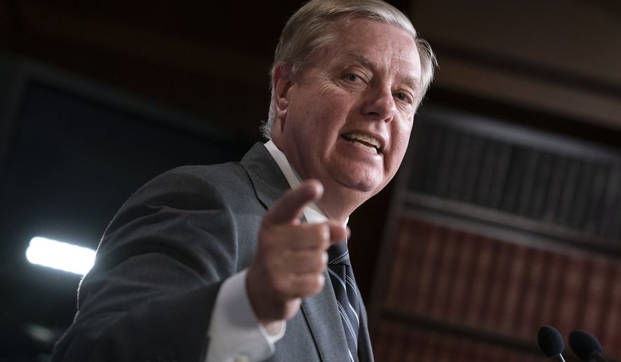 "Republican Sen. Lindsey Graham of South Carolina, one of President Donald Trump's chief GOP allies, says he will introduce a resolution condemning the Democratic-controlled House for pursuing a ""closed door, illegitimate impeachment inquiry,"" during a news conference at the Capitol in Washington,Thursday, Oct. 24, 2019. The non-binding resolution by the Senate Judiciary Committee chairman gives Senate Republicans a chance to show support for the president at a moment when Trump is urging his allies to get tougher and fight harder for him. (AP Photo/J. Scott Applewhite)"