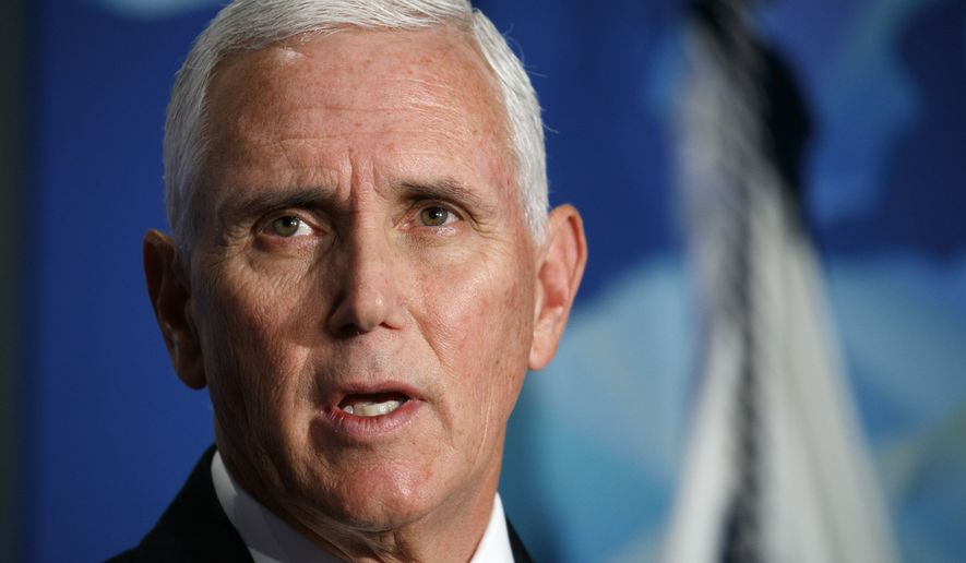 Vice President Mike Pence speaks about the U.S.-China relationship, Thursday, Oct. 24, 2019, at the Wilson Center's inaugural Frederic V. Malek Public Service Leadership Lecture, in Washington. (AP Photo/Jacquelyn Martin)