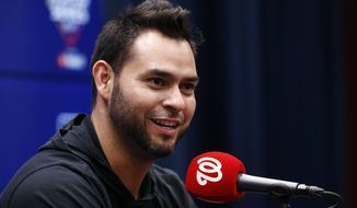 Washington Nationals starting pitcher Anibal Sanchez speaks during a news conference Thursday, Oct. 24, 2019, in Washington. The Nationals and the Houston Astros are scheduled to play Game 3 of baseball's World Series on Friday. (AP Photo/Patrick Semansky)