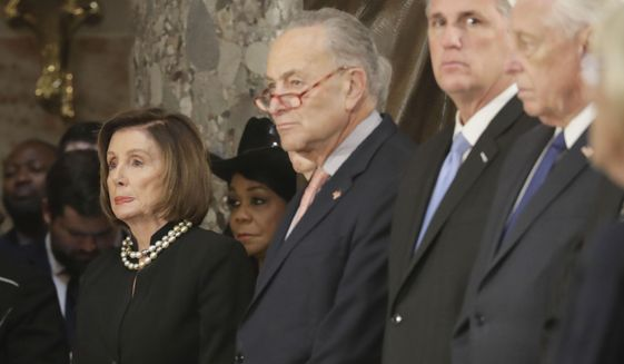 From left, House Speaker Nancy Pelosi of Calif., Senate Minority Leader Sen. Chuck Schumer of N.Y., House Minority Leader Kevin McCarthy of Calif. and House Majority Leader Steny Hoyer of Md., during memorial services for Rep. Elijah Cummings, D-Md., at the U.S. Capitol in Washington, Thursday, Oct. 24, 2019. (AP Photo/Pablo Martinez Monsivais, pool)