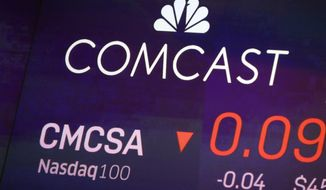 FILE - In this Oct. 1, 2019, file photo the symbol for Comcast appears on a screen at the Nasdaq MarketSite, in New York. Comcast Corp. reports financial earns on Thursday, Oct. 24, 2019. (AP Photo/Richard Drew, File)