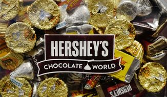 FILE - In this March 1, 2017, file photo, a mixture of Hershey's chocolates is displayed in the company's Times Square store in New York. The Hershey Co. reports financial earns on Thursday, Oct. 24, 2019. (AP Photo/Mark Lennihan, File)