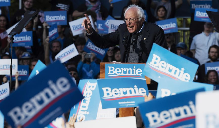 Democratic presidential candidate Sen. Bernie Sanders, I-Vt., speaks during a campaign rally, Saturday, Oct. 19, 2019, in the Queens borough of New York. (AP Photo/Mary Altaffer)