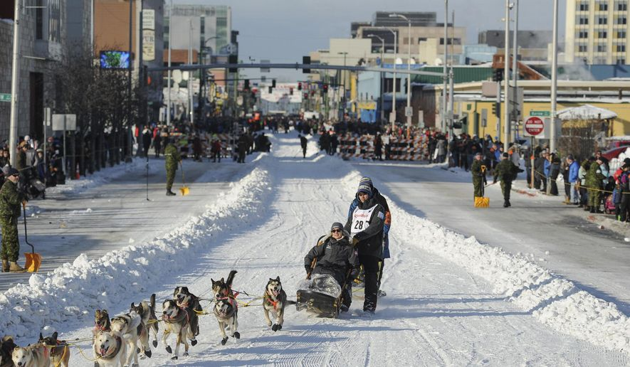 FILE - In this March 2, 2019, file photo, defending champion Joar Lefseth Ulsom runs his team down Fourth Ave during the ceremonial start of the Iditarod Trail Sled Dog Race in Anchorage, Alaska. Alaska's famed Iditarod Trail Sled Dog Race has joined a new global circuit of long-distance sled dog racing. Officials of the 1,000-mile race have teamed up with Norway pet food supplement company and series creator, Aker BioMarine, and other races in Minnesota, Norway and Russia for the inaugural QRILL Pet Arctic World Series, or QPAWS, next year. (AP Photo/Michael Dinneen, File)