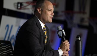 California head coach Mark Fox speaks during the Pac-12 NCAA college basketball media day, in San Francisco, Tuesday, Oct. 8, 2019. (AP Photo/D. Ross Cameron)