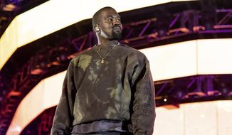 Kanye West performs at the Coachella Music & Arts Festival in Indio, California, April 20, 2019. (Photo by Amy Harris/Invision/AP) ** FILE **