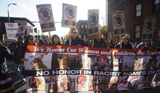 "Protesters march from Peavey Park to US Bank Stadium to protest the use of ""Redskins"" in the name of the Washington NFL football team, and the names of some other pro sports teams, before Washington's game against the Minnesota Vikings on Thursday, Oct. 24, 2019, in Minneapolis. (Richard Tsong-Taatrarii/Star Tribune via AP)"