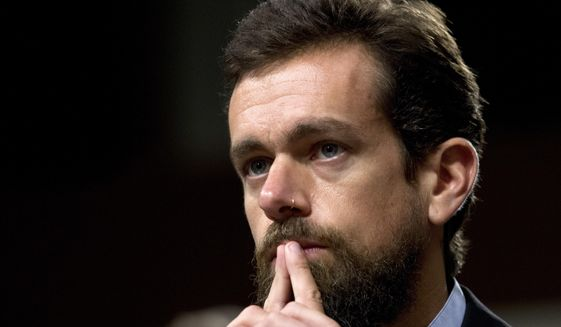 In this Sept. 5, 2018, file photo Twitter CEO Jack Dorsey testifies before the Senate Intelligence Committee hearing on 'Foreign Influence Operations and Their Use of Social Media Platforms' on Capitol Hill in Washington.  (AP Photo/Jose Luis Magana, File)  **FILE**