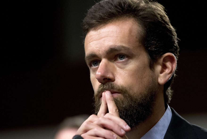 In this Sept. 5, 2018, file photo Twitter CEO Jack Dorsey testifies before the Senate Intelligence Committee hearing on 'Foreign Influence Operations and Their Use of Social Media Platforms' on Capitol Hill in Washington.  (AP Photo/Jose Luis Magana, File)