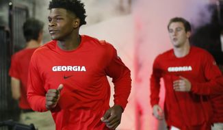 Georgia's Anthony Edwards takes the court with his teammates before a college basketball exhibition game against Valdosta State in Athens, Ga., Friday, Oct. 18, 2019. (Joshua L. Jones/Athens Banner-Herald via AP)