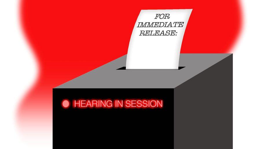 Illustration on secretive Democrat hearings by Alexander Hunter/The Washington Times
