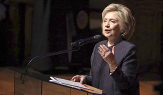 Former presidential candidate Hillary Clinton referenced King Ahab from the Bible during funeral services for Rep. Elijah Cummings at New Psalmist Baptist Church on Oct. 25, 2019, in Baltimore, Maryland. (Chip Somodevilla/Pool via AP)
