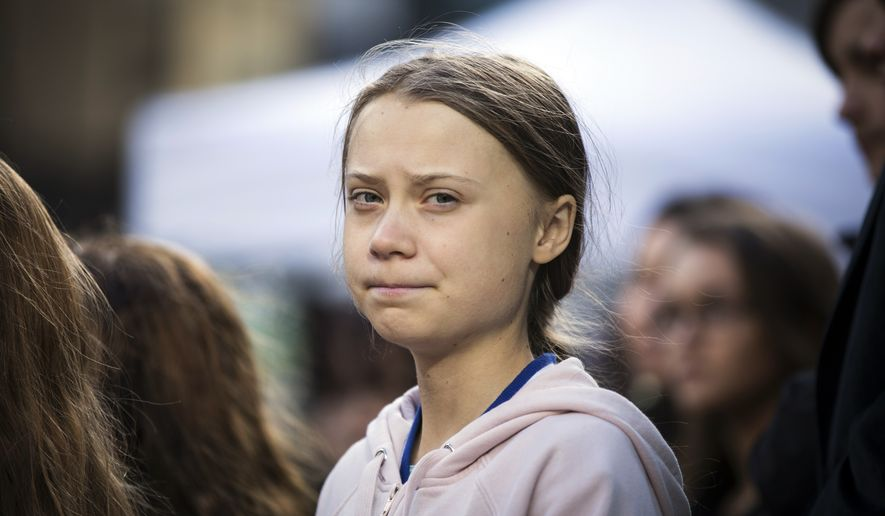 Swedish climate activist, Greta Thunberg, attends a climate rally, in Vancouver, British Columbia, on Friday, Oct. 25, 2019. (Melissa Renwick/The Canadian Press via AP)
