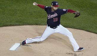 Washington Nationals starting pitcher Anibal Sanchez throws during the first inning of Game 3 of the baseball World Series against the Houston Astros Friday, Oct. 25, 2019, in Washington. (AP Photo/Pablo Martinez Monsivais)