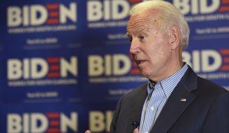 Democratic presidential candidate, former Vice President Joe Biden, speaks during an interview on Saturday, Oct. 26, 2019, in Florence, S.C. (AP Photo/Sarah Blake Morgan)