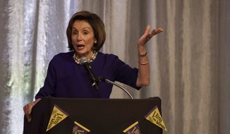 House Speaker Nancy Pelosi, D-Calif., speaks at the Morrison Exon Annual Fundraiser at the Omaha downtown Hilton on Saturday, Oct. 26, 2019, in Omaha, Neb. (Kenneth Ferriera/Omaha World-Herald via AP)