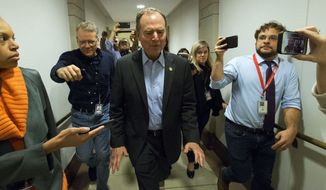 Rep. Adam Schiff, D-Calif., the chairman of the House intelligence committee, leaves the Capitol in Washington after a closed-door interview with acting Assistant Secretary of State Philip Reeker on Saturday, Oct. 26, 2019. (AP Photo/Jose Luis Magana)