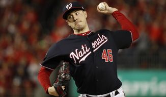 Washington Nationals starting pitcher Patrick Corbin throws against the Houston Astros during the first inning of Game 4 of the baseball World Series Saturday, Oct. 26, 2019, in Washington. (AP Photo/Jeff Roberson)